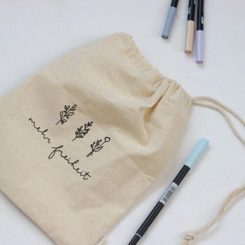 säckchen, baumwollsäckchen, notizbuch, blau, herzstaerkend